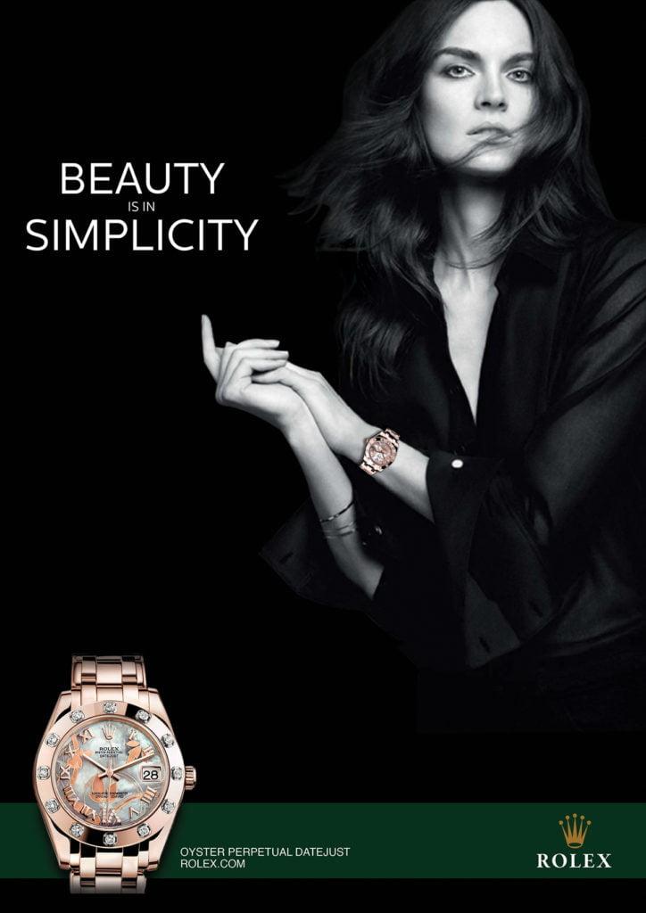 Реклама товара элитарного класса Обилие воздуха, минимализм, строгость цветов, всё указывает на повышенную ценность товара на психологическом уровне